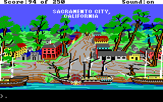 Gold Rush! DOS Arrived safely at Sacramento (I guess Jerrod is already in the building, but finding him at this screen is a minipuzzle itself...)