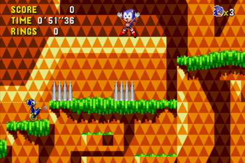 Sonic CD Android Sonic looks surprised by his spike-death.