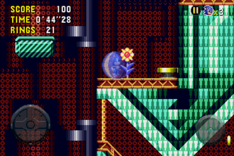 Sonic CD Android Shielded Sonic stands next to a defeated robot, when robots die they turn into flowers.