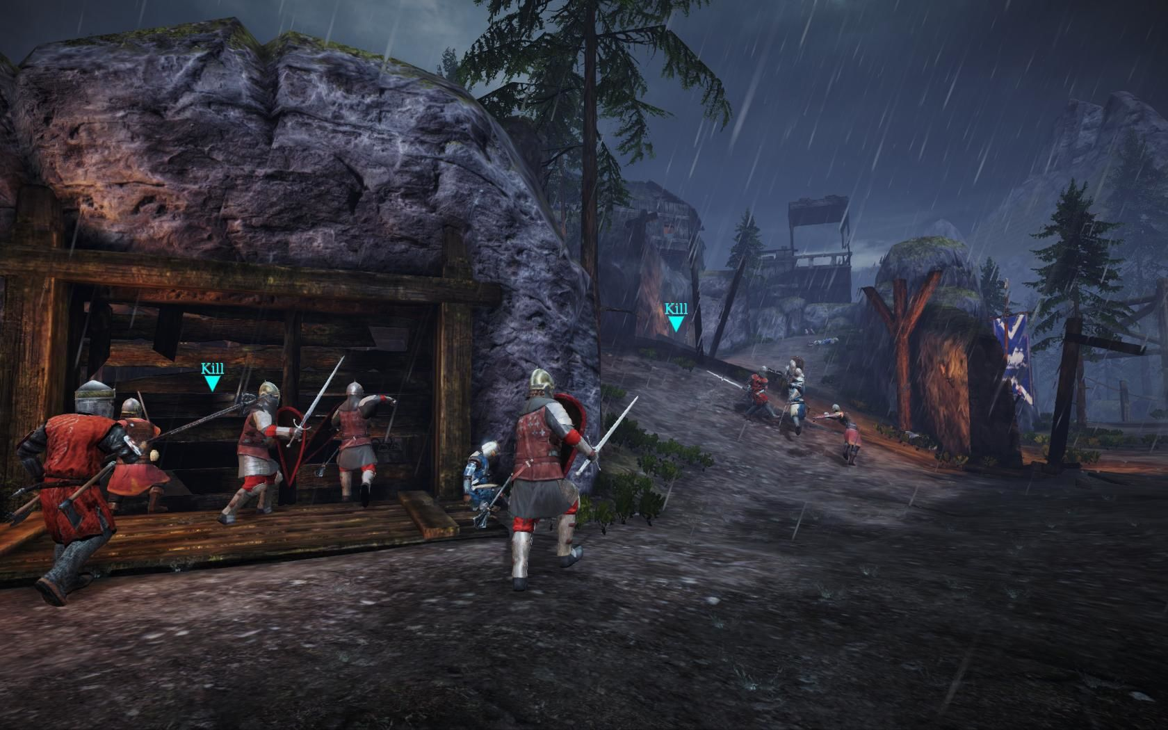 Chivalry: Medieval Warfare Windows Dark forest map, the mason team in red.