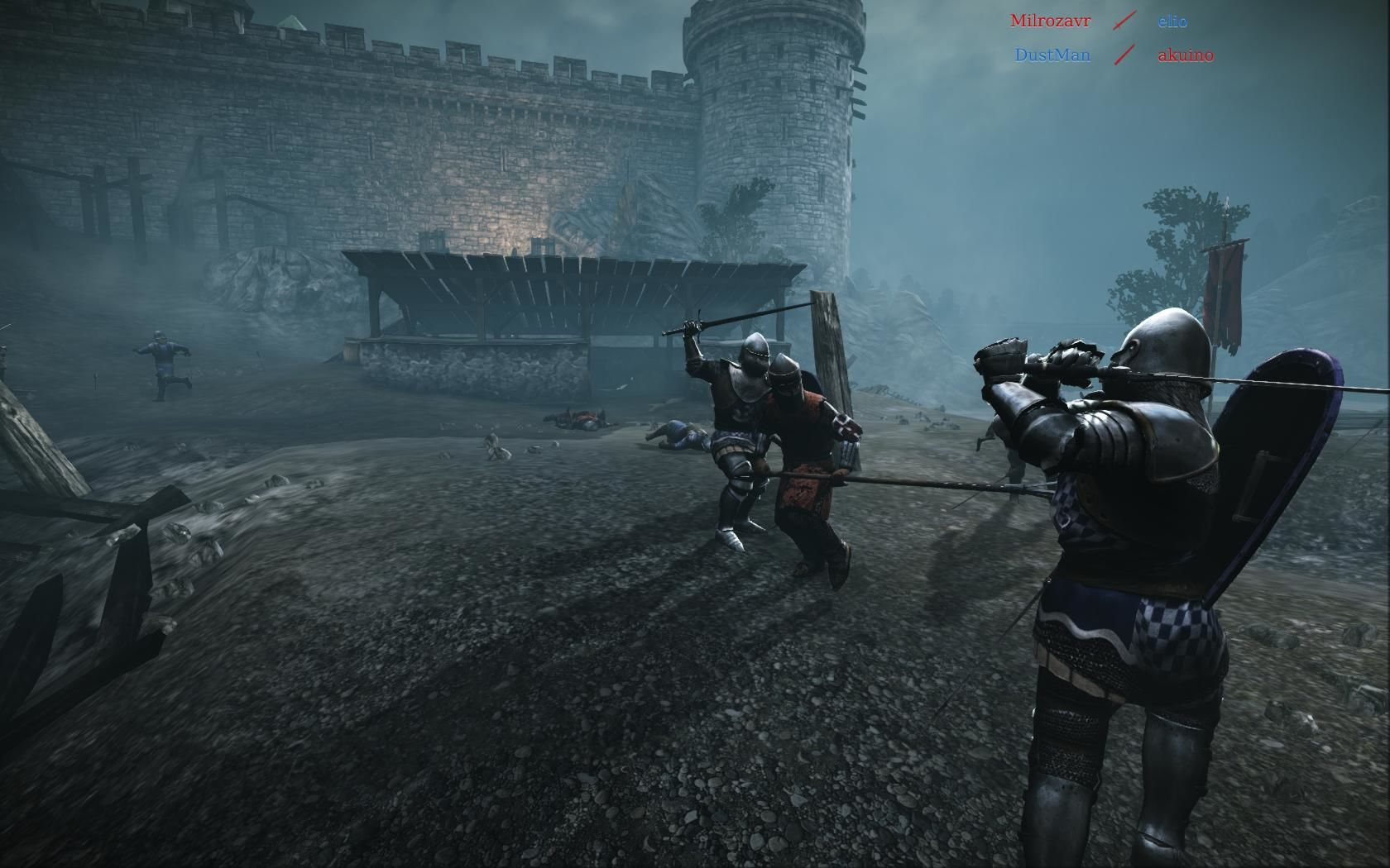 Chivalry: Medieval Warfare Windows Battleground map, with an Agatha knight in the blue team.