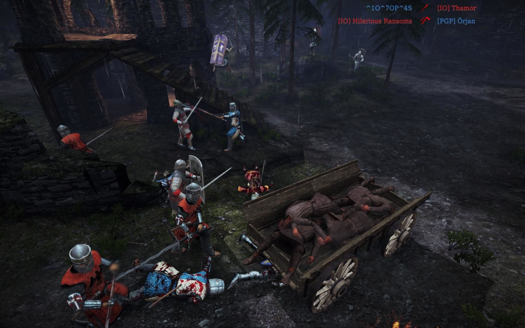 Chivalry: Medieval Warfare Windows The corpses wagon objective on the Dark Forest map.