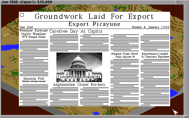 SimCity 2000 Amiga The newspaper keeps you informed of what's going in your city and in the world. (Hi Res AGA)