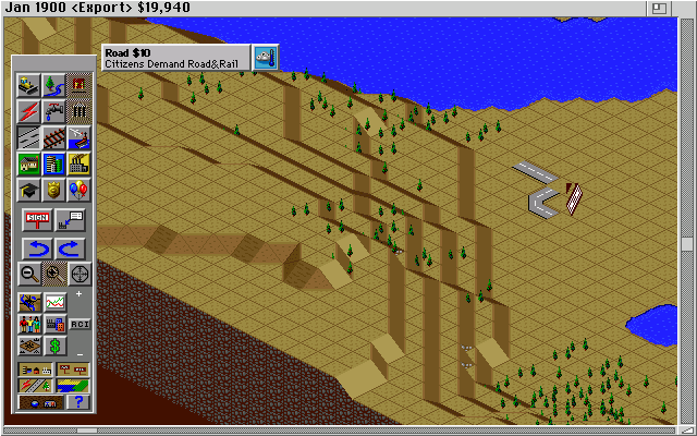 SimCity 2000 Amiga Building some roads. (Hi Res AGA)