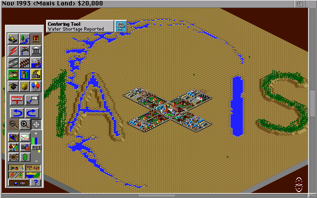 SimCity 2000 Amiga One of the built in cities - Maxis Land. (Hi Res AGA)