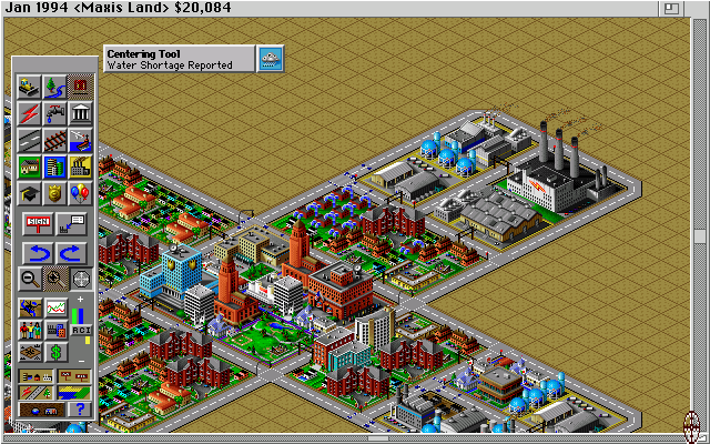 SimCity 2000 Amiga Zoomed up on the city. (Hi Res AGA)