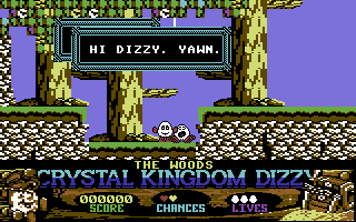 Crystal Kingdom Dizzy Commodore 64 The Woods. Dozy is sleepy as usual.