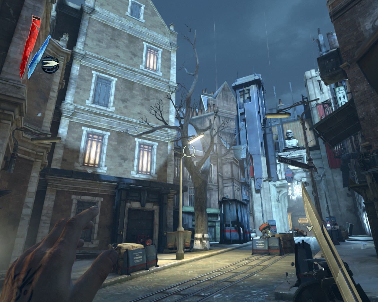 Dishonored Windows This district is a step up from the rat-infested slums of the lower city. Time to equip my trusty Blink magic on the left hand and start hoppin'