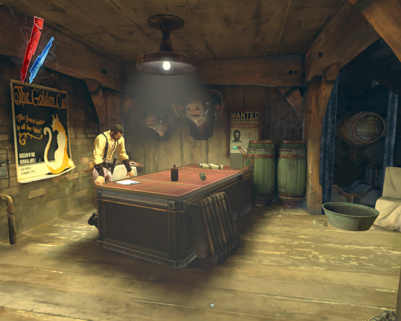 Dishonored Windows Slackjaw is not afraid to put a wanted poster of himself right there in his office in the whiskey distillery