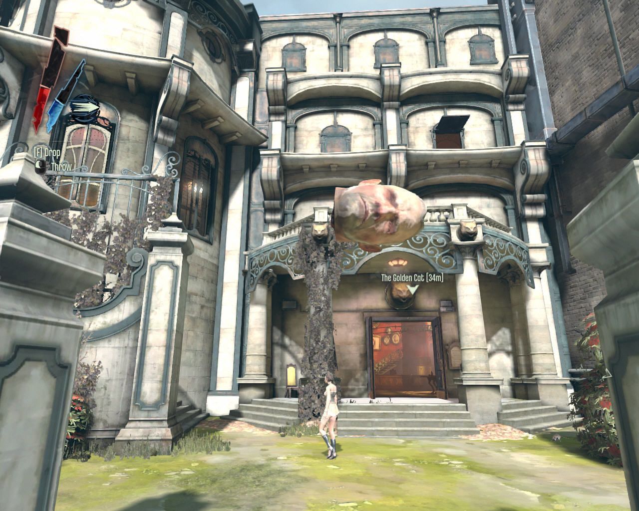 Dishonored Windows Corvo just cut off an officer's head and is proudly carrying it to this gorgeous whorehouse. Maybe he wants to impress that lady of questionable conduct walking in front