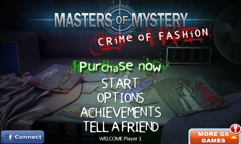Masters of Mystery: Crime of Fashion Android Main menu