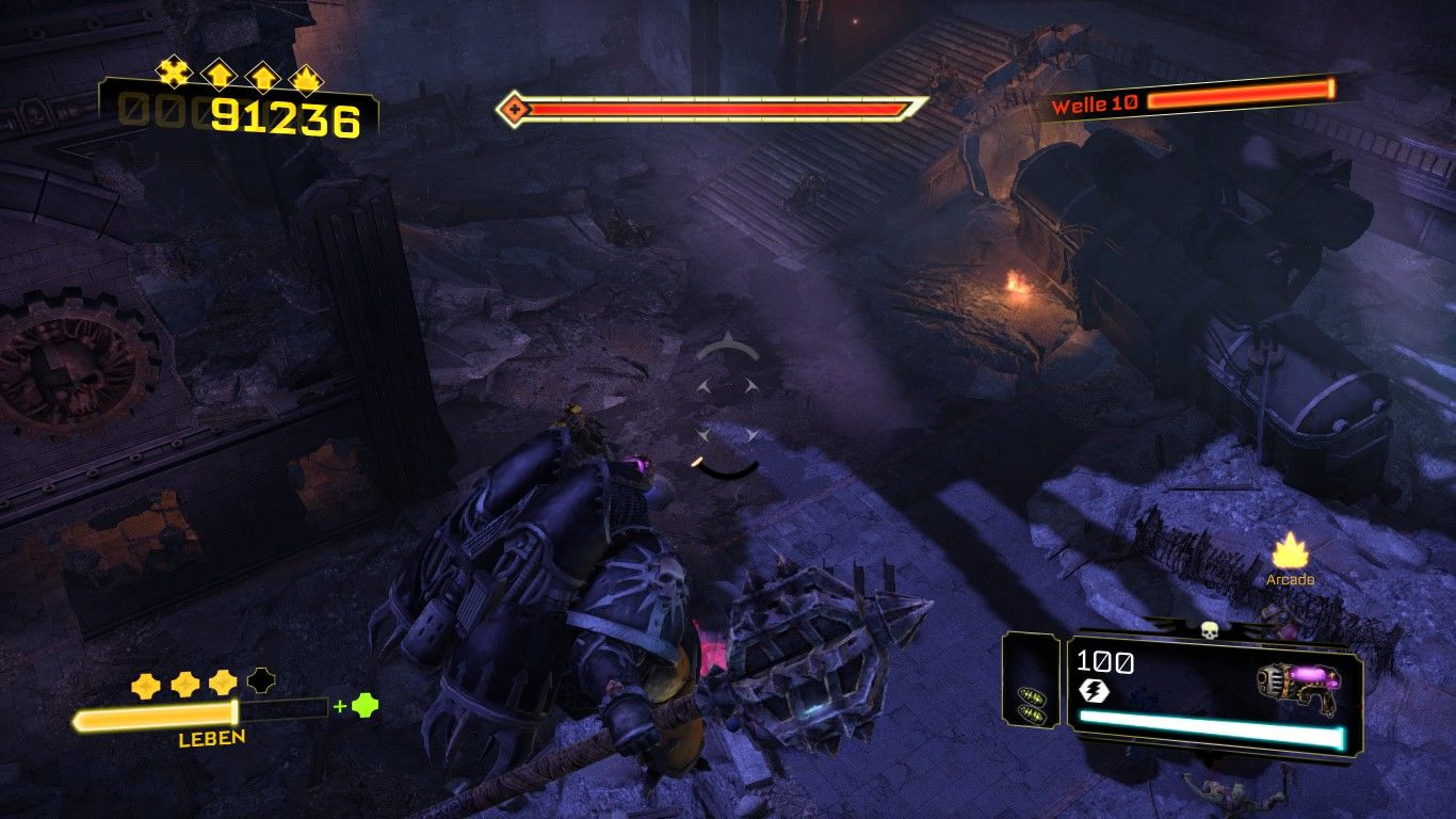 Warhammer 40,000: Space Marine - Chaos Unleashed Windows Up in the air, searching for new prey.