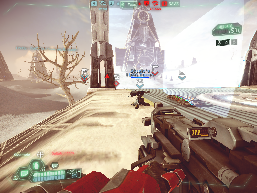 Tribes: Ascend Windows Force fields and turrets can be used to protect the flag