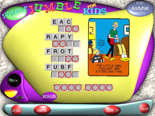 Scrambled Word Game Jumble