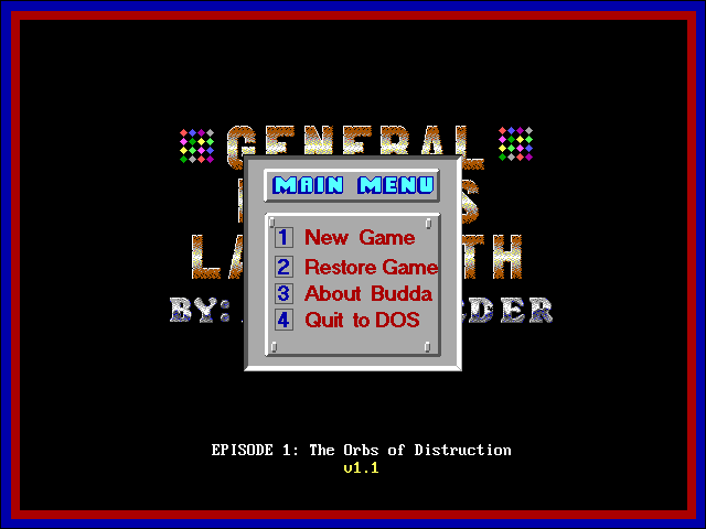 General Budda's Labyrinth DOS Main menu