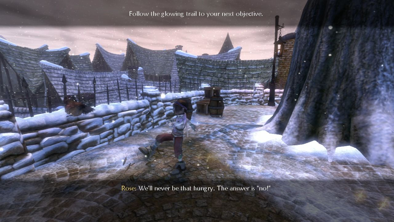 Fable II Xbox 360 Game lets you do various things, such as kicking a chicken.