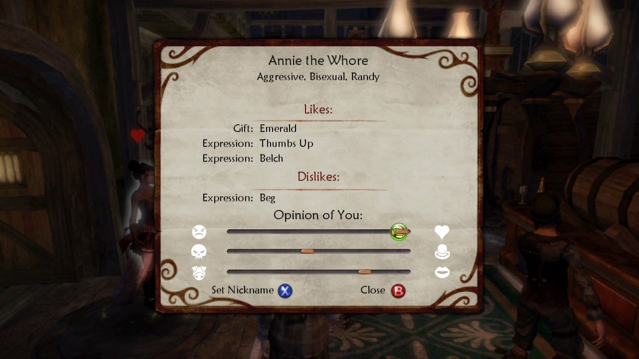 Fable II Xbox 360 You can check what people think about you.