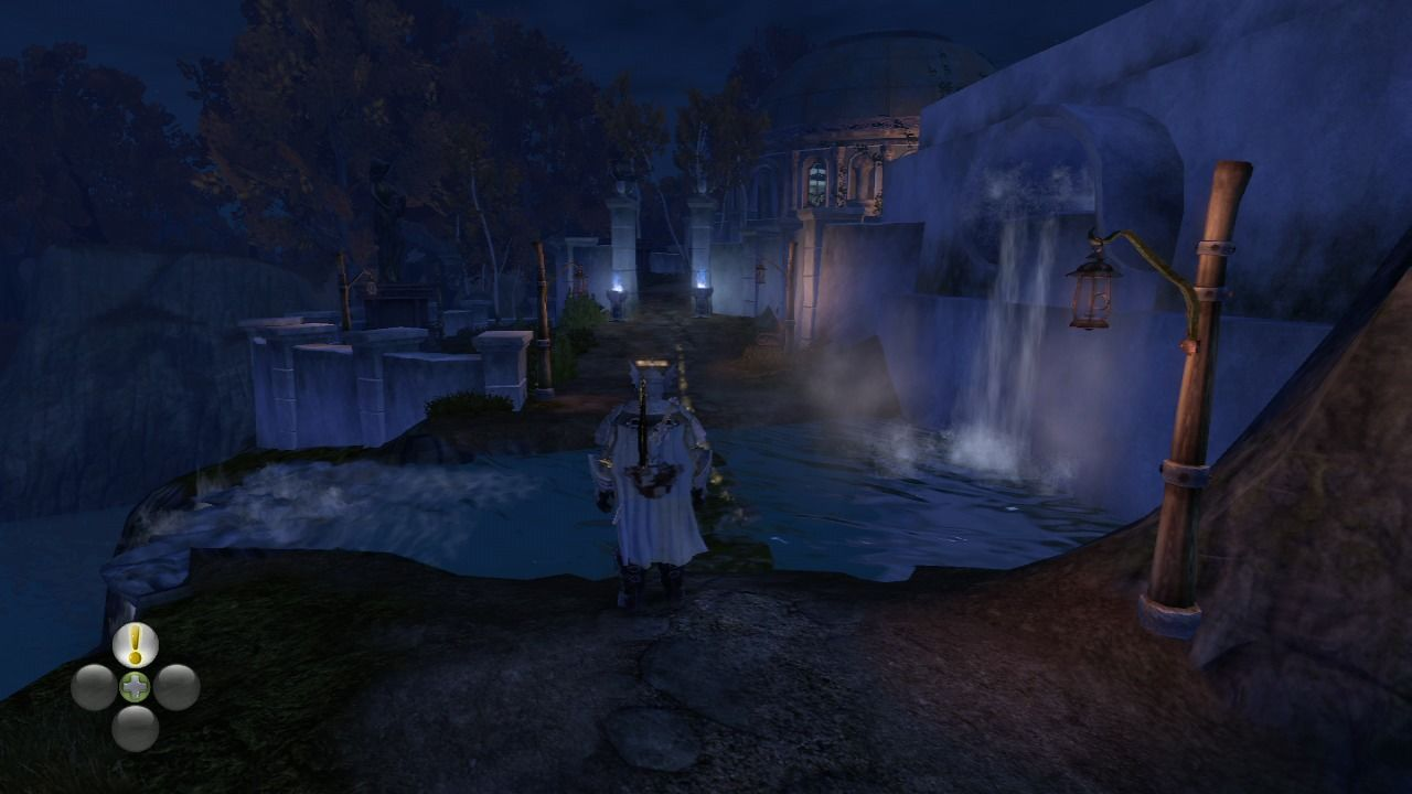 Fable II Xbox 360 Oakfield at night.