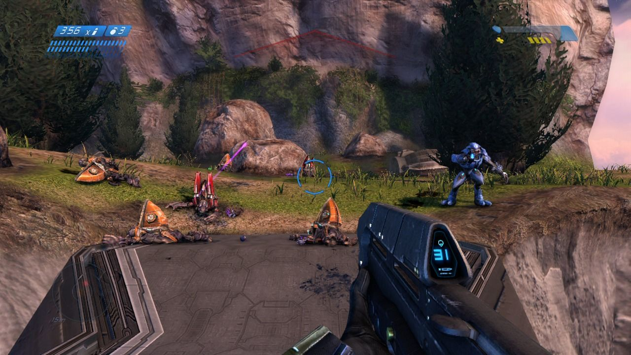 Halo: Combat Evolved - Anniversary Xbox 360 Fighting the enemy patrol (remake).