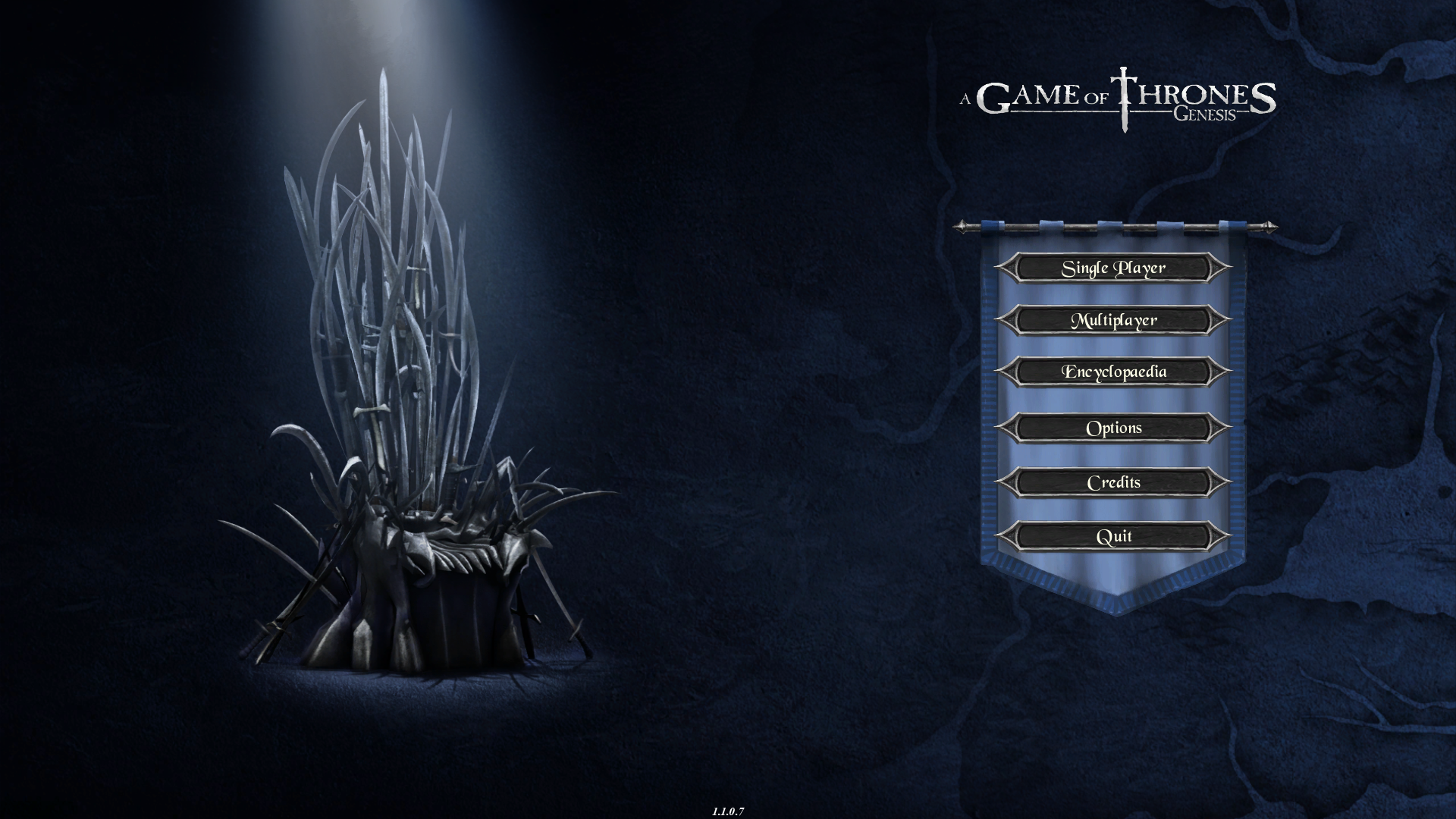 A Game of Thrones: Genesis Windows Main menu