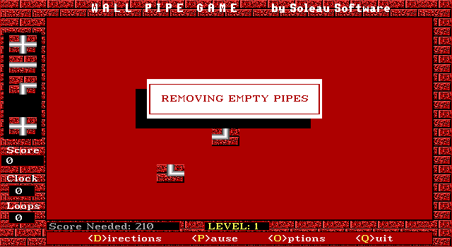 Wall Pipe DOS After the level ends, the game is reducing my score after I placed some pipes off the track, resulting in a zero score. Let's try again.