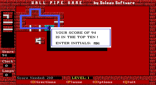 Wall Pipe DOS This turn I got some points left, and made it to the high-score list.