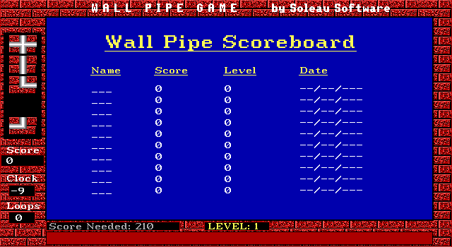 Wall Pipe DOS ...or I would have, except I was playing from the CD, so the high-score list was write-protected. :-p