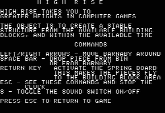 Highrise Apple II Instructions