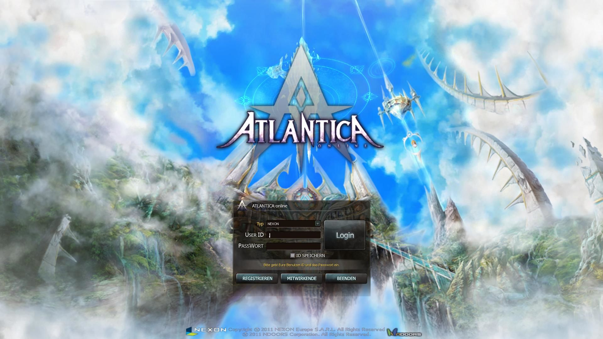 Atlantica Online Windows Main menu
