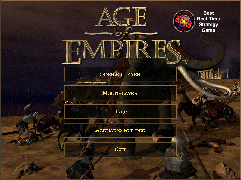 Age of Empires (Demo Version) Windows The title screen modestly informs you that you are playing the Best Real-Time Strategy Game.
