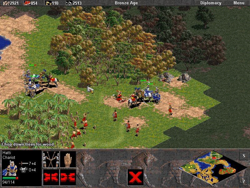 Age of Empires (Demo Version) Windows Chariots and chariot archers are a good fighting force, but they are clearly outnumbered by enemy infantry and bowmen.