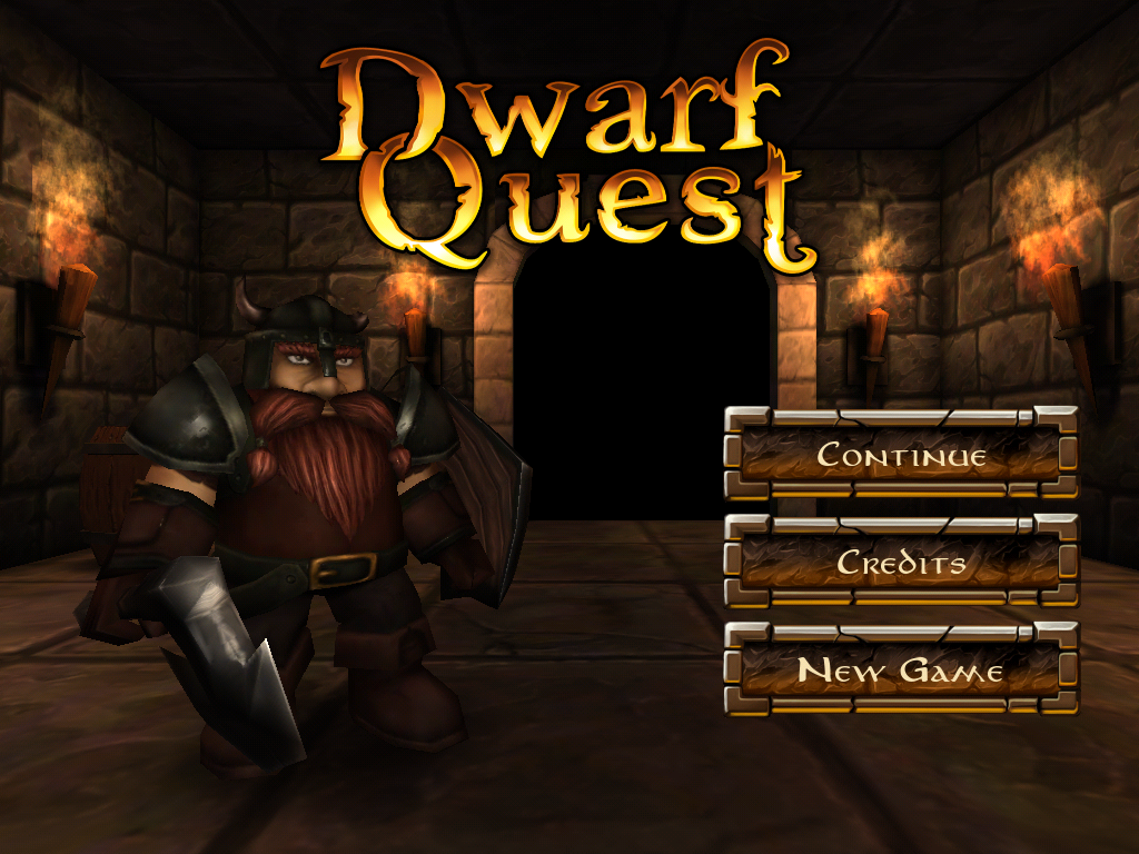 Dwarf Quest iPad Title screen, featuring our hero, Morrin Firebread
