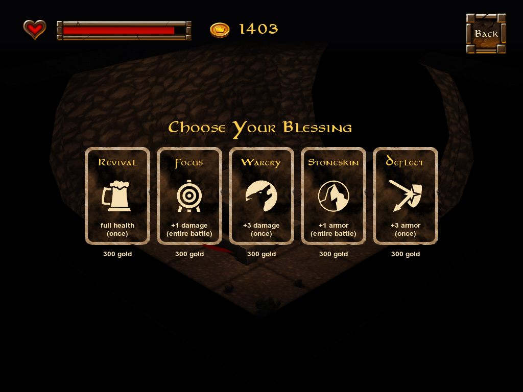 "Dwarf Quest iPad At altars, you can buy ""blessings"" usable in battle"