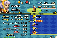 Final Fantasy Tactics Advance Game Boy Advance Abilities screen