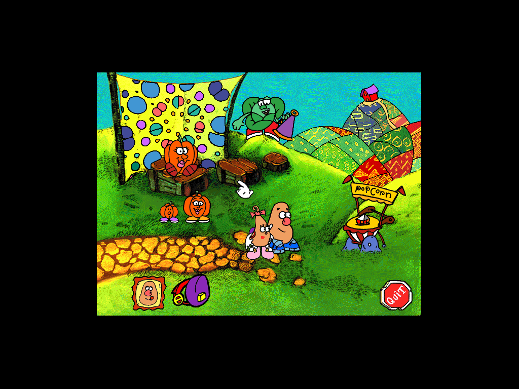 Mr. Potato Head Saves Veggie Valley Windows 3.x A mini game where you must differentiate between small, medium and big sizes.