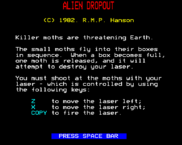 Alien Dropout BBC Micro Instructions