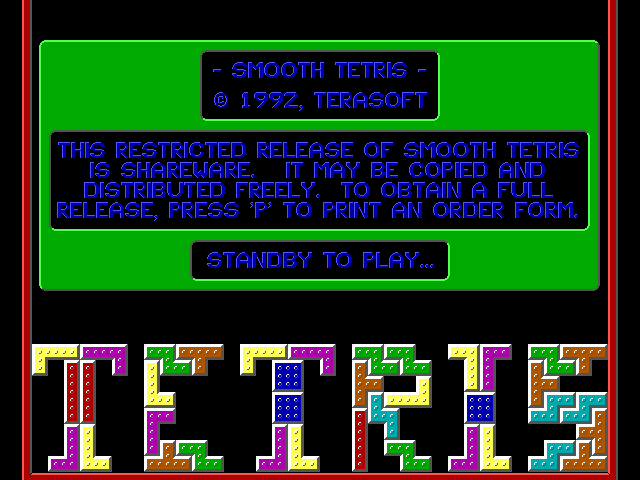 Smooth Tetris DOS Smooth Tetris splash-screen
