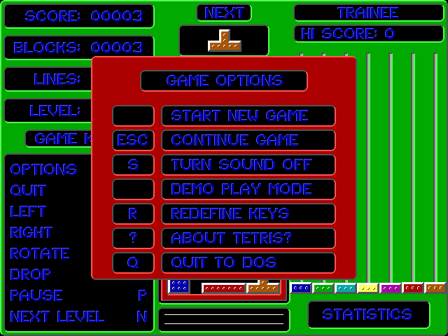 Smooth Tetris DOS Game options