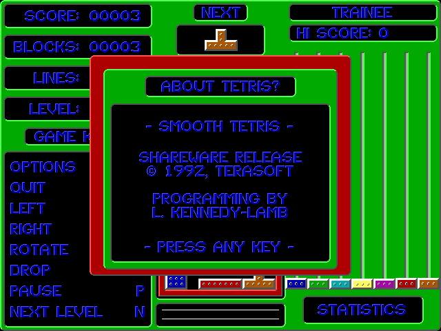 Smooth Tetris DOS About - developer information