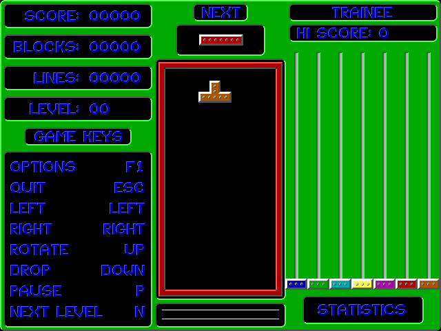 Smooth Tetris DOS First block falling - at a lazy snowflake speed.