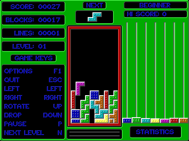 Smooth Tetris DOS After a few blocks have been removed, the bars on the right start growing.