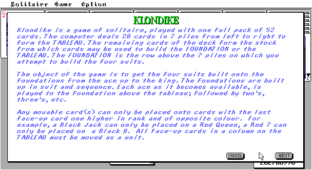 TEGL Klondike Solitaire DOS Introduction
