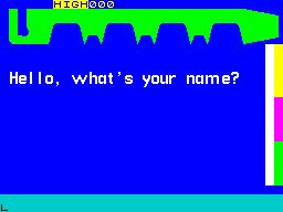 Hot Dot Spotter ZX Spectrum The game asks the player to identify themselves. This personalises the in-game messages.