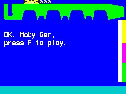 "Hot Dot Spotter ZX Spectrum The name has been entered and the game hangs until 'P' is pressed. The name can be quite long, the game easily copes with ""Moby Gamer"", what's on screen is a mistype"