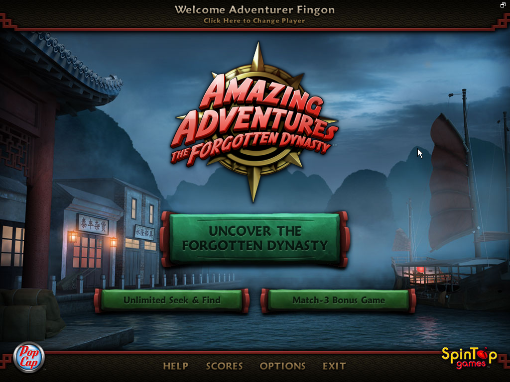 Amazing Adventures: The Forgotten Dynasty Windows Main menu with uncovered bonus modes