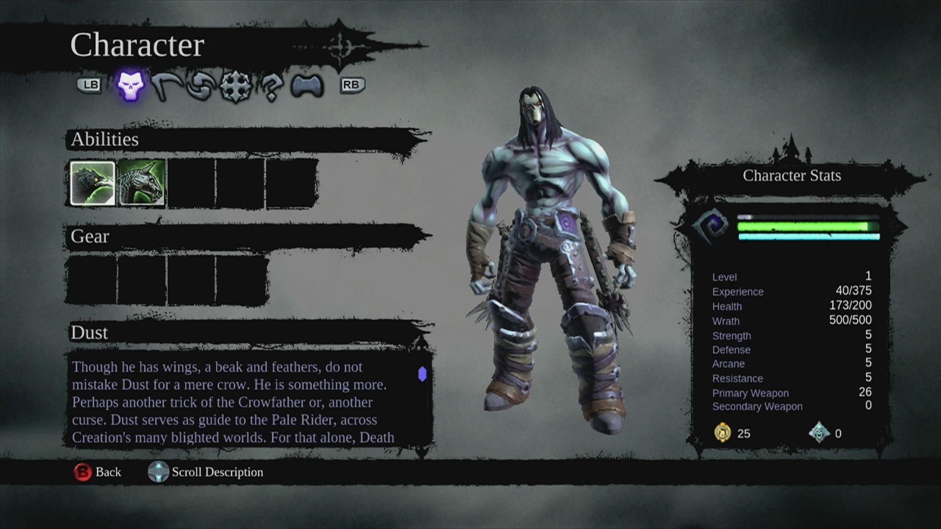 Darksiders II Xbox 360 Abilities screen