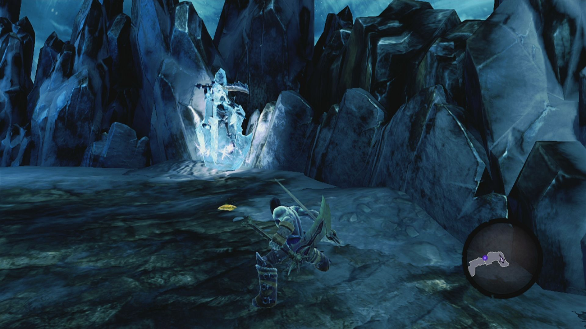 Darksiders II Xbox 360 Gold in front of a frozen enemy