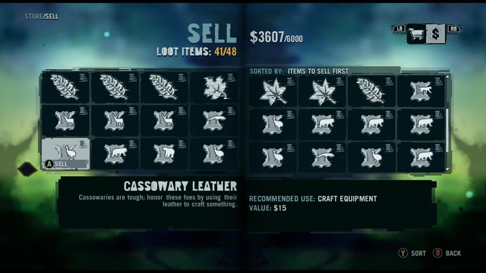 Far Cry 3 Xbox 360 Inventory screen