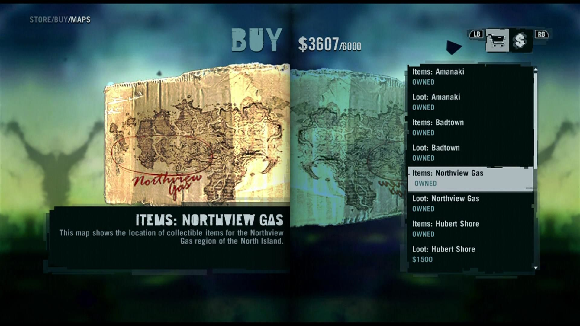 Far Cry 3 Xbox 360 Shop menu, where you can also buy maps