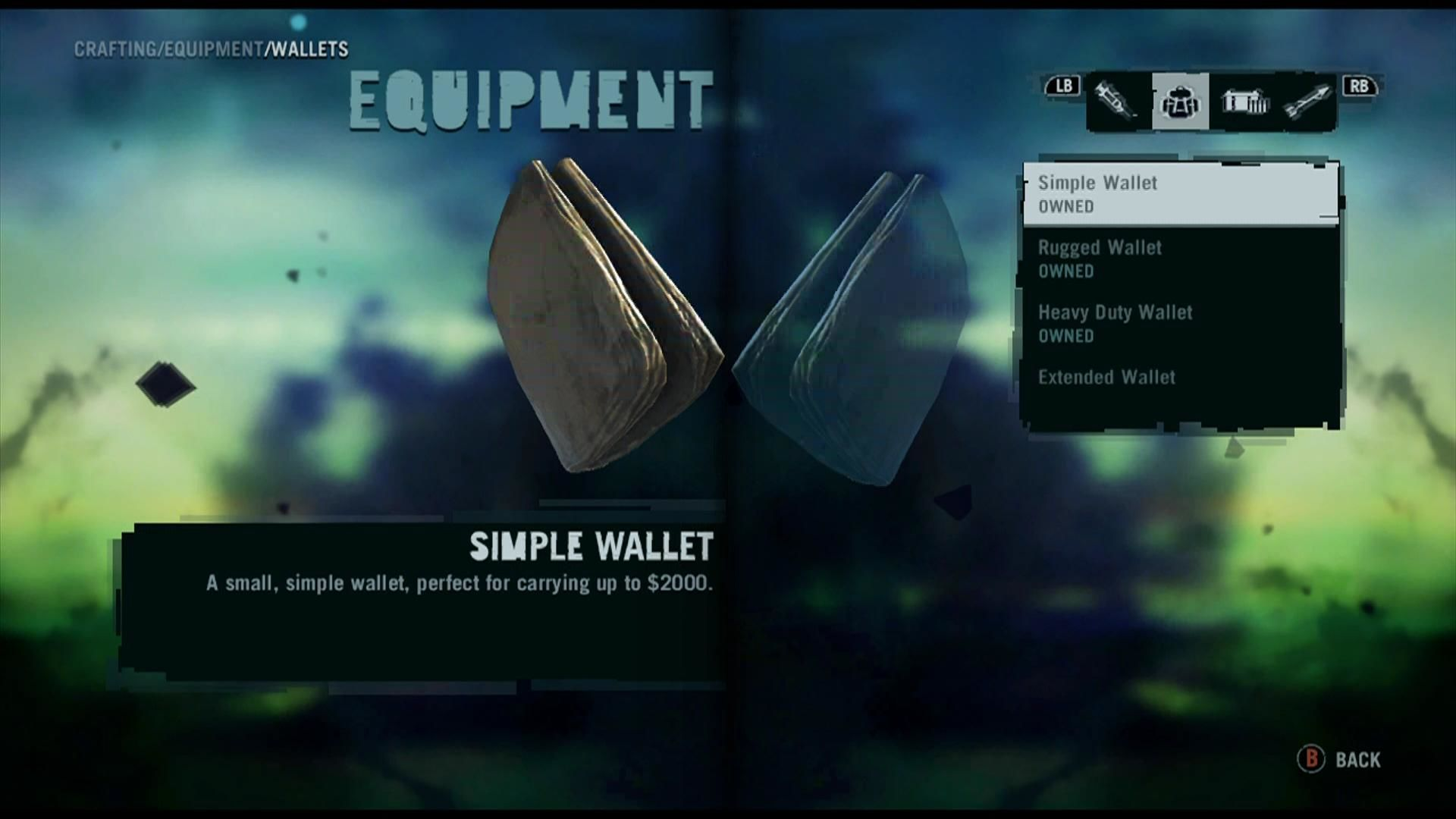 Far Cry 3 Xbox 360 Item screen. Items and Equipment can be upgraded using animal skins